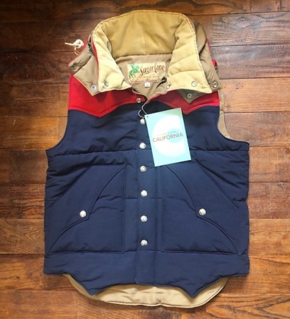 Sugar cane/シュガーケーン SC13068 PADDING VEST navy/red